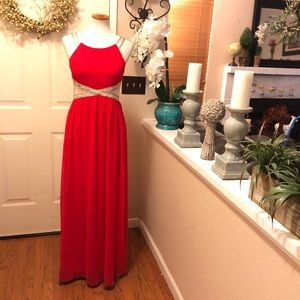 Stunning Red Maniju Sheer Mesh Side Panel Gown